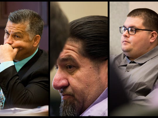 Defendants Andres Perez, from left, Henry Contreras and his son Johnathan Contreras, all of Immokalee, who are accused of committing a string of robberies in the Naples and Orlando areas in 2014, listen to opening statements and prosecution testimony in Orlando on Thursday, May 4, 2017.