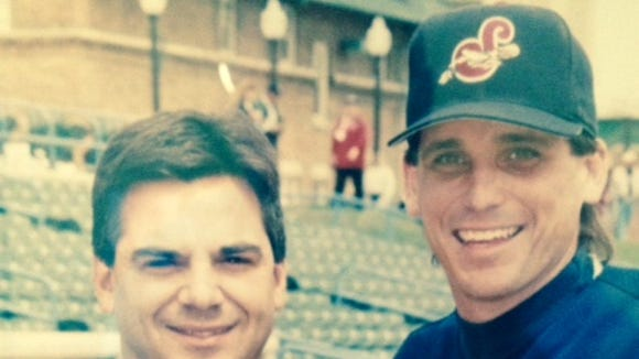 The author with Jeff Manto at Frontier Field in 1997. Jeff looks the same. I have gray hair.