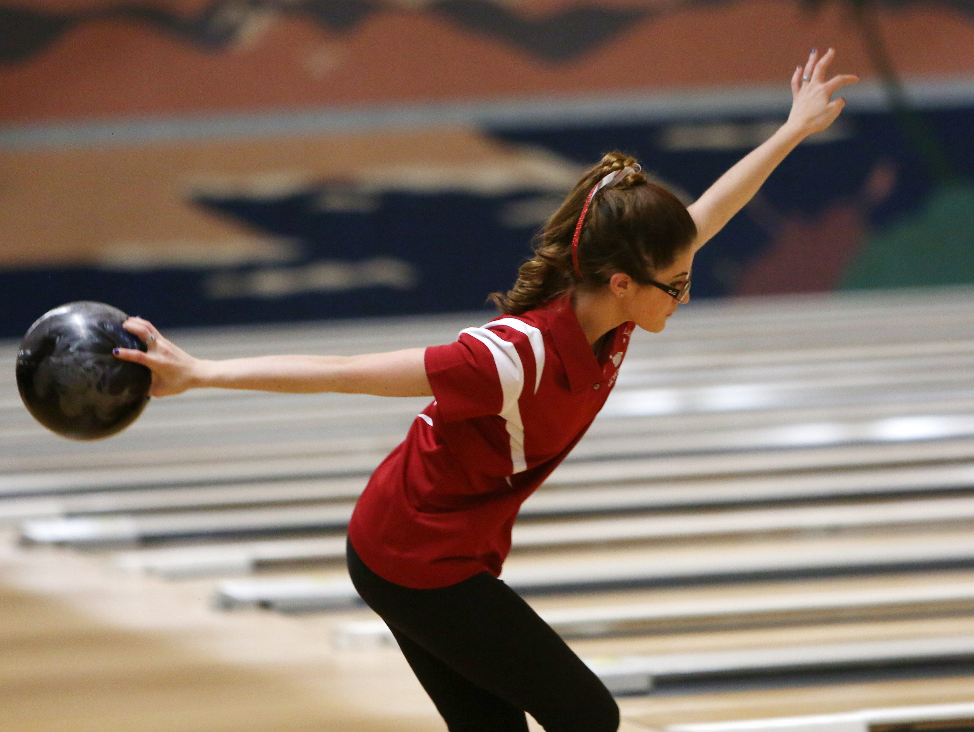 North Rockland's Deanna Jones bowling during the Section 1 girls bowling tournament at Fishkill Bowl Feb. 10, 2016. North Rockland went on to win the tournament.
