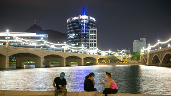 The Mill Avenue Bridges at Tempe Town Lake on Monday, July 7, 2014.