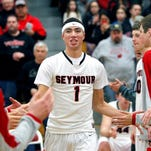 Seymour's Sandy Cohen takes the court for the Thunder's game against Bay Conference rival West De Pere on Feb. 20.