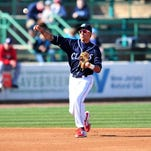 BlueClaws shortstop J.P. Crawford fires to first after making a good play against Hagerstown.