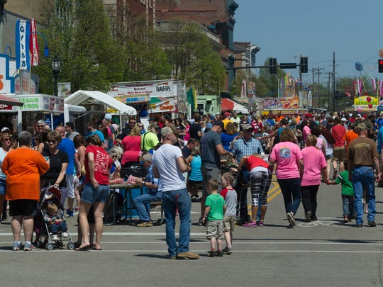 DANIEL R. PATMORE / SPECIAL TO THE GLEANER  Nice sunny spring day bring large crowds to the Tri-Fest in 2016.