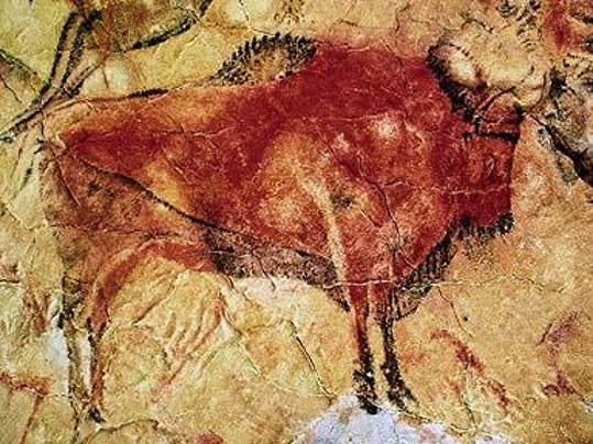 Paleolithic cave paintings depicting animal hunts, Altamira, Spain, 22,000 BC