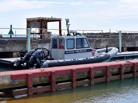 Guam Fire Department's rescue boat parked at the Agat marina on April 12, 2017.