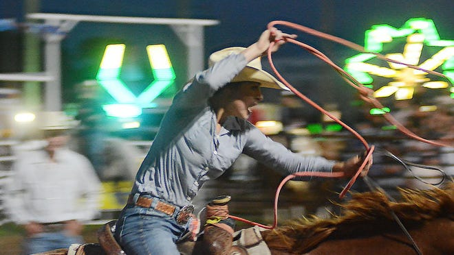Laci Ast of Conway Springs competes in the breakaway roping competition at the Newton Saddle Club Rodeo. It was the first year for the event at the Newton rodeo as well as the Central Plains Rodeo Association.