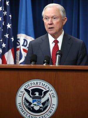 Attorney General Jeff Sessions speaks about a reconstituted travel ban at the U.S. Customs and Borders Protection headquarters in Washington on March 6.