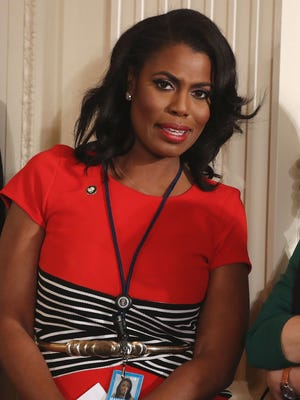 White House staffer  Omarosa Manigault, seen here at a February press conference, remarried Saturday.