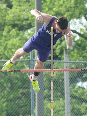 Male's Jordan Curby attempts a vault in the KHSAA Class 3A Region 3 track and field meet at Male High School. May 12, 2018