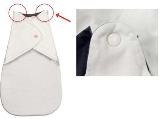 Little Lotus baby swaddles and sleeping bags. The shoulder straps can break or detach.