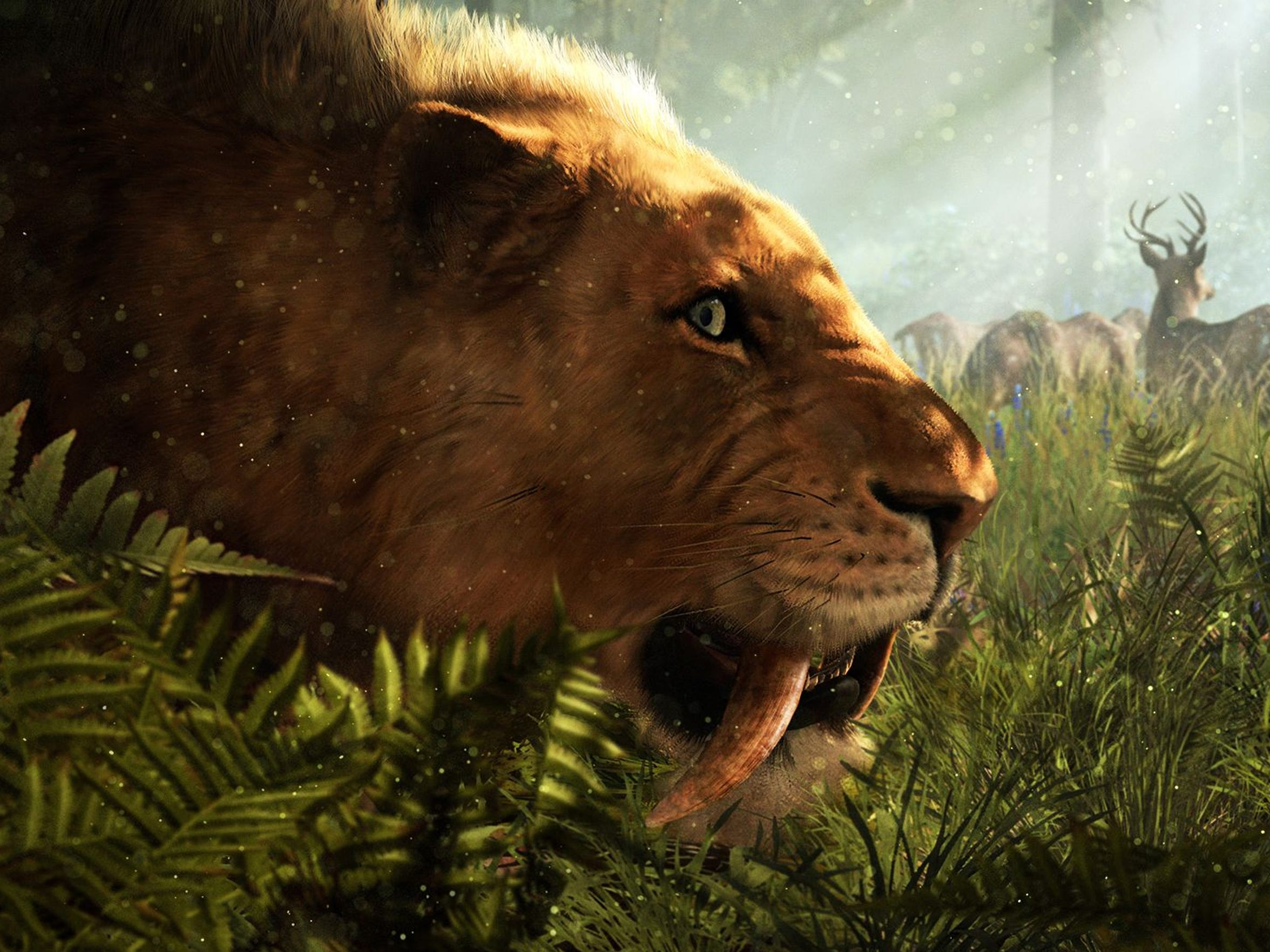 Humans are our friends, not food, Mr. Saber-toothed tiger. Somehow, we doubt it'll listen.