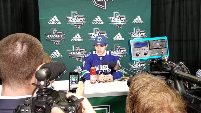 Quinn Hughes answers media questions after being selected seventh overall by Vancouver.