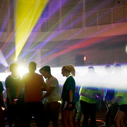 York College students attend a dance party in the Grumbacher