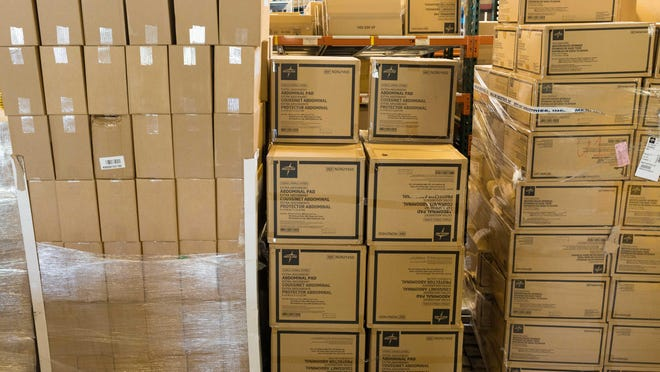 Supplies of personal protective equipment are stockpiled in the warehouse of Atlantic Health System in Morris County as hospitals prepare for a potential resurgence of coronavirus. The system includes Morristown Medical Center, Chilton Medical Center in Pompton Plains, Overlook Medical Center in Summit, Hackettstown Medical Center and Newton Medical Center.