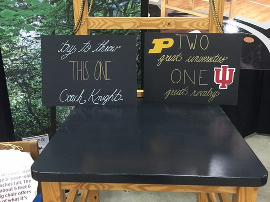 An item up for bid during today's Purdue Ag Alumni Fish Fry at the Indiana State Fairgrounds.