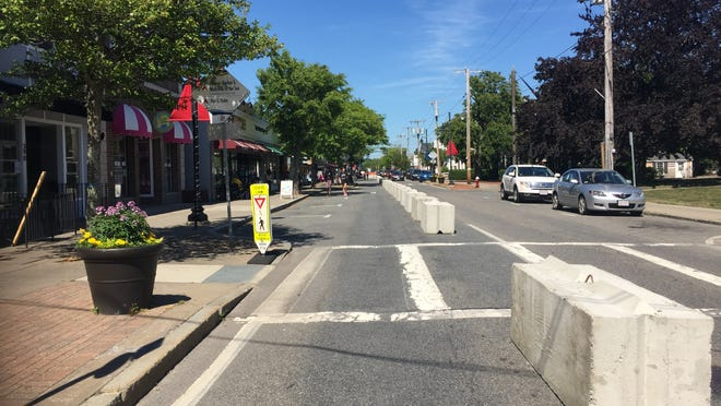 Barricades are in place on Hyannis Main Street between Barnstable Road and Sea Street to make room for pedestrians and outdoor dining on the north side of the street.