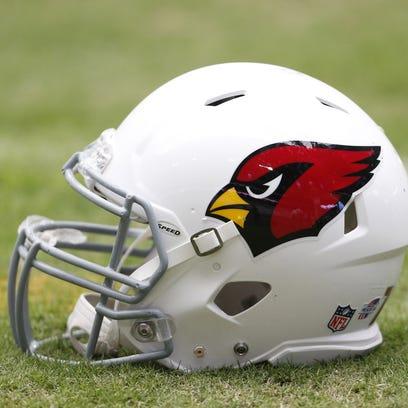 An Arizona Cardinals helmet at training camp at University