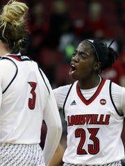 Louisville's Jazmine Jones celebrates after scoring against Virginia Tech.