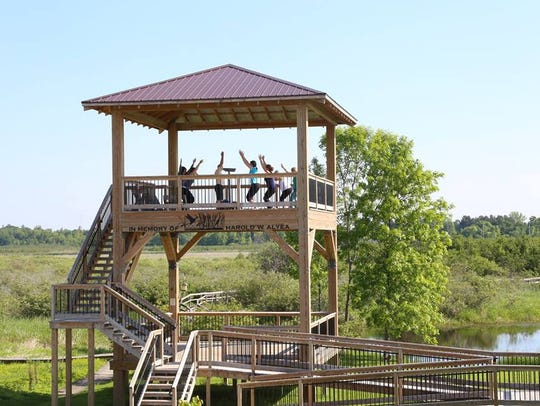 A yoga class on the tower at Woodland Dunes Nature