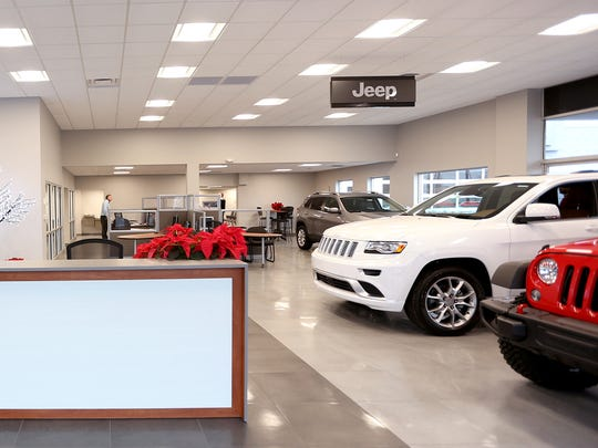 The recently re-opened and renovated Livonia Chrysler Jeep dealership in Livonia.
