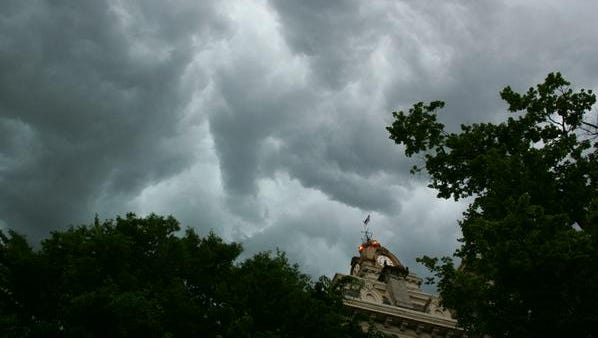 Monday's storm looks ominous over the Licking County Courthouse.