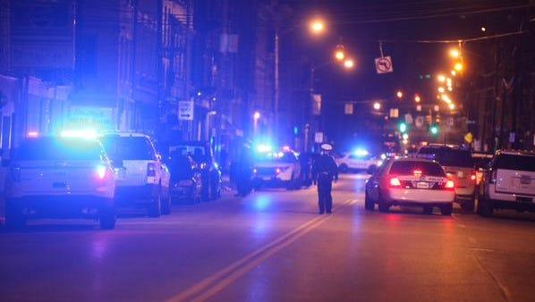 Police blocked off Vine Street near Liberty St.