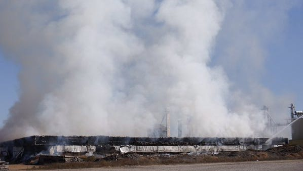 A large fire at a wood products business in Seymour.