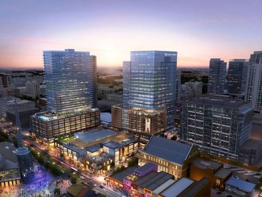 An overview of the Fifth + Broadway project site.