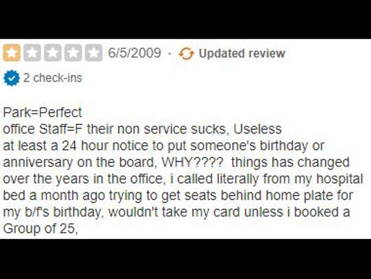 Yelp review of Victory Field.