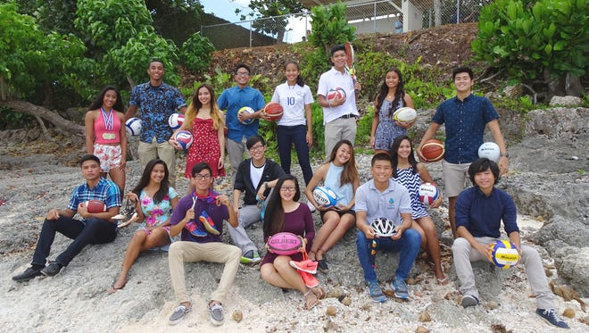 The 2016 Shieh Su Ying Scholar Athletes finalists. Back, from left: Regine Tugade (JFK); Tomoya Tisdale (Guam High); Jachele Saludo (Okkodo); Jordan Santos (Harvest Christian); Destiny Castro (ND); Gary Aromin (Okkodo); Heather Garrido (GW); Chino Cruz (JFK). Front, from left: Brendan Santos (GW); Celine Amparo (Okkodo); Joshua Tingson (JFK); Jeffrey Kim (Harvest Christian); Jeanie Nguyen (Simon Sanchez); Jessica Fernandez (ND); Tommy Imazu (Guam Adventist); Jasmine Almoguera (GW); and Fujin Shimoda (St. John's).