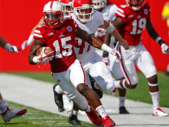 Nebraska wide receiver De'Mornay Pierson-El (15) runs