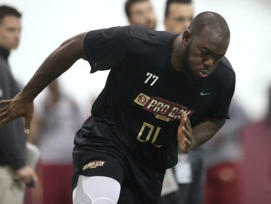 Roderick Johnson performs for NFL personal during FSU's