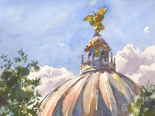 "Wyatt Waters painted this piece, ""Put a Bird On It,"" at the Mississippi State Capitol in Jackson while traveling with restaurateur Robert St. John. The painting is included in their new book, ""A Mississippi Palate."""