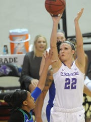 ACU's Sierra Allen (22) shoots over a Texas A&M-Corpus