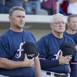 Reno Aces manager Phil Nevin and coach Mike Parrott before their game against the Oklahoma City RedHawks at Aces Ballpark on June 20, 2014.