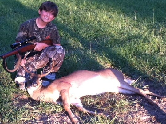 Brayden Linton, 11, harvested this 9-point Oct. 8 on the opening youth hunting with a 7mm 08.