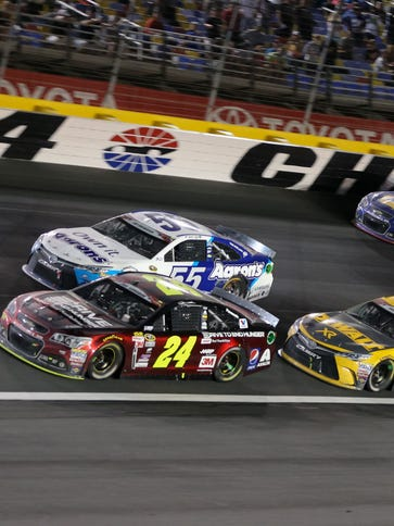 Jeff Gordon leads the field during the Coca-Cola 600