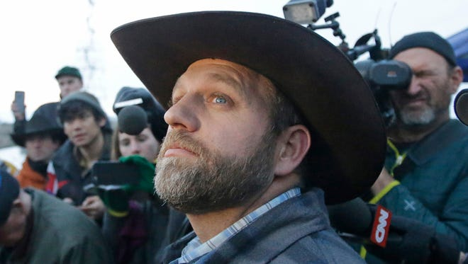 Ammon Bundy, one of the sons of Nevada rancher Cliven Bundy, speaks to reporters during a news conference at Malheur National Wildlife Refuge.
