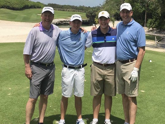 Keith Bratton, Adam Bratton, Walker Beck and Evan Beck play a round of golf together in Cancun. (From L to R).