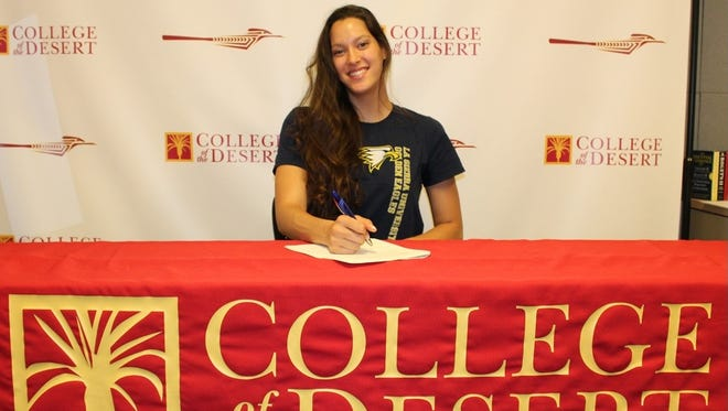 COD's Sara Edwards signed her letter of intent on Tuesday to play basketball for La Sierra University.
