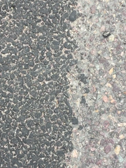 Porous asphalt, at left, allows surface water to percolate