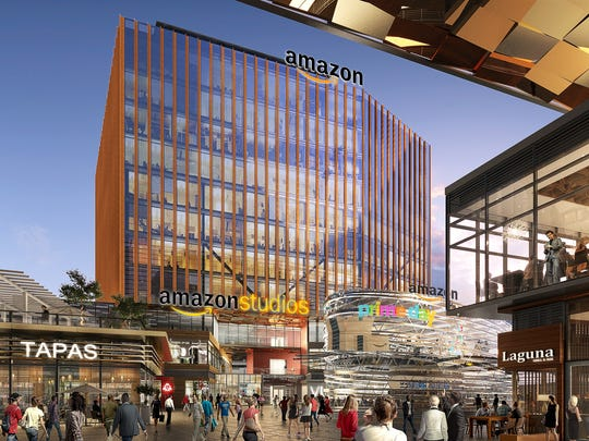 A rendering by Elkus Manfriedi Architects of a New Brunswick site included in Middlesex County's proposed plan for Amazon's second headquarters.
