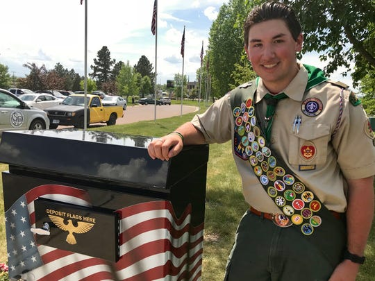 Sean Lynch, 15, put together a box for retired American flags as part of his Eagle Scout project. Lynch presented the box at the 2018 Memorial Day ceremony at Veterans Memorial Park.