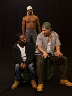 """Michael Thompson (from left), DeJean Brown and Damon J. Bolling star in the Stray Cat Theatre production of """"The Brothers Size."""""""