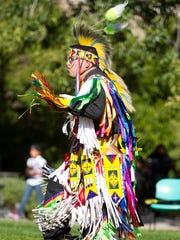 Jarod Pidgeon, from Phoenix, of the Ho-Chunk and Oneida tribe, dances during the 2010 Pow Wow at ASU.