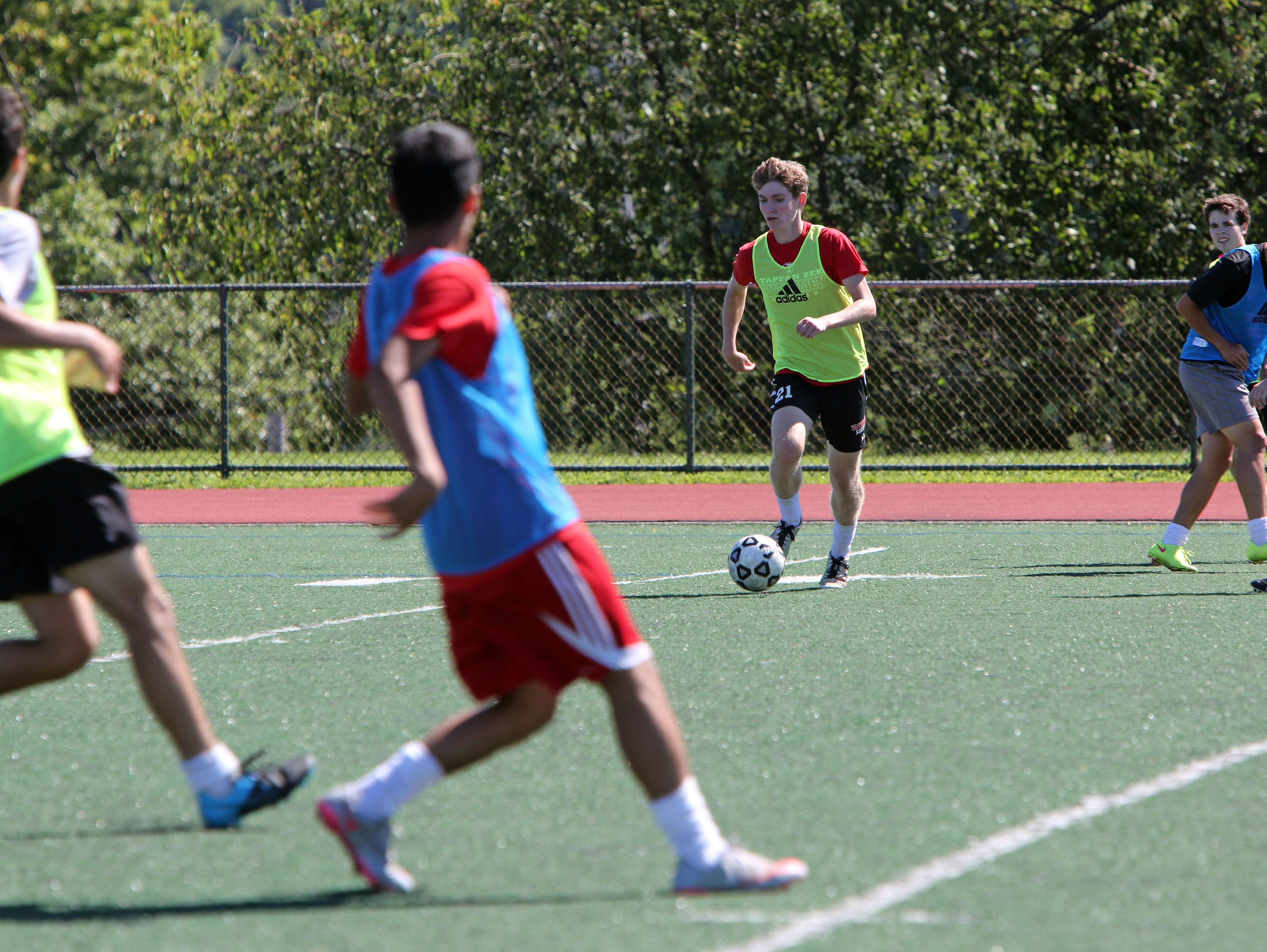 Tappan Zee senior Jack Samett during the first day of soccer practice at Tappan Zee High School Aug. 22, 2016.