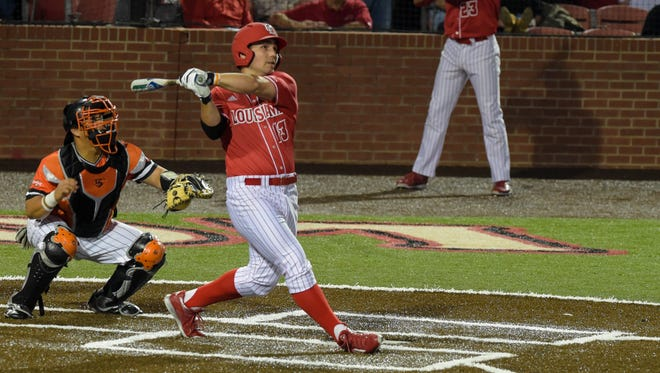 Brenn Conrad at the plate as the Cajuns open the Baseball season at Tigue Moore Field taking on Sam Houston State on Friday.