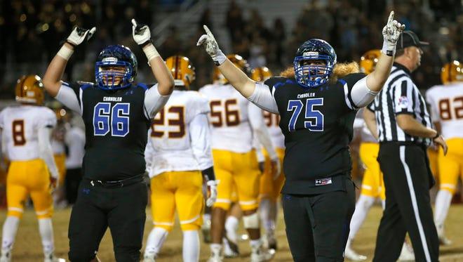 Chandler defeats Mountain Pointe during a Division I High School football semifinals at Hamilton High in Chandler, AZ, on November 21, 2014.