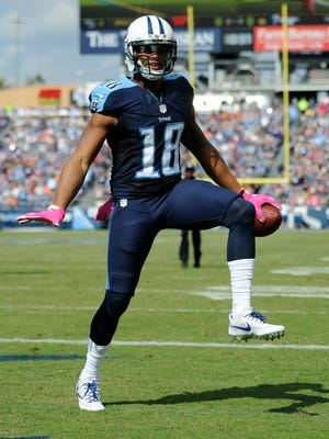 Titans wide receiver Rishard Matthews celebrates his touchdown on the opening drive against the Browns on Sunday.
