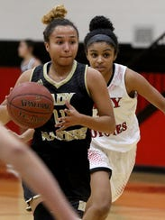 Rider's Tori Williamson dribbles in the game against